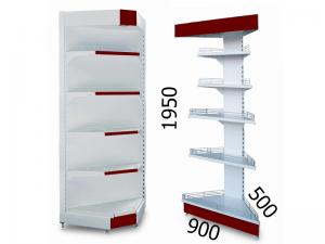 Стеллаж торговый угловой металлический 900х500х1950мм