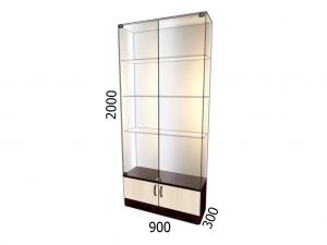 Витрина стеклянная с накопителем 900*300*2000 фасад зеркало