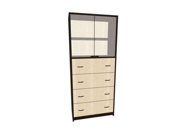 Шкаф для офиса 4 ящика Лдсп и верхние двери стекло ОШ-3