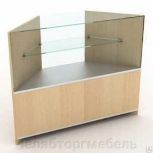 Прилавок угловой остекленный со стеклянной полкой 700*700*900