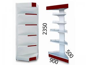 Стеллаж металлический торговый угловой 900х500х2350мм