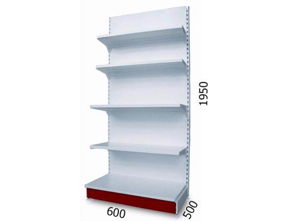 Стеллаж пристенный торговый металлический 600х500х1950мм