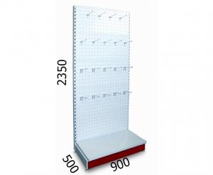 Стеллаж торговый металлический перфорированный 900х500х2350мм