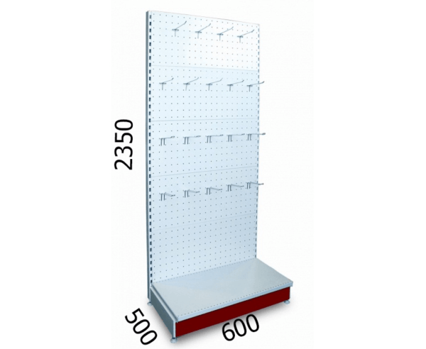Стеллаж торговый металлический перфорированный 600х500х2350мм
