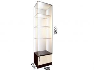 Витрина стеклянная с накопителем 400*400*1800 фасад зеркало