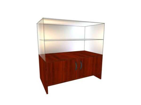 Прилавок стеклянный (полка стекло+ двери низ) 0,5*0,9*0,9м