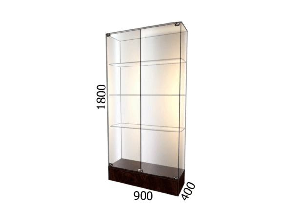 Витрина стеклянная на подиуме 900*400*1800 фасад зеркало