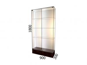 Витрина стеклянная на подиуме 900*300*1800 фасад зеркало