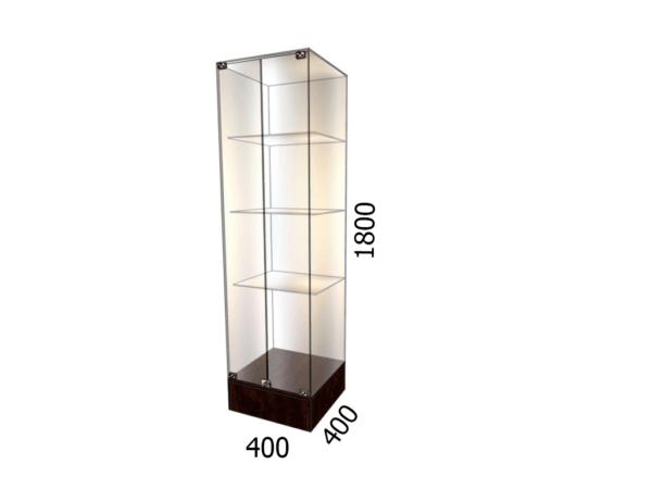 Витрина стеклянная торговая 400*400*1800 фасад зеркало