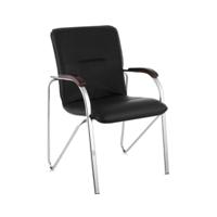 Самба стул (эко-кожа, хром+лак) для клиентов и персонала