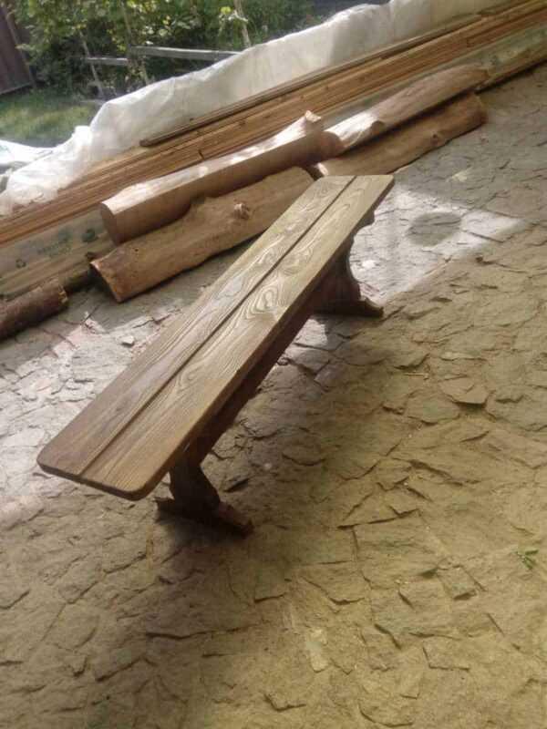 Лавочка без спинки для кафе из массива состаренного дерева 1500мм